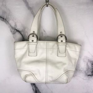 COACH white leather satchel bag